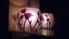 Candle Holders One Hand Painted Tea Light red flower trees & dinner light