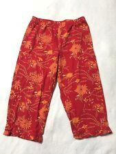 Hanna Andersson 110 4 5 6 Red Orange Asian Floral Capri Ruffle Hem Pants