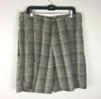 Tommy Bahama Men's Cargo Shorts Size 36 Plaid Cotton Silk Blend Flat Front Olive