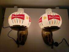 Vintage Pair Budweiser Beer Anheuser Busch Advertising Lamps Wall Sconces Globes