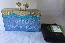Kate Spade I Need A Vacation Breath of Fresh Air Glitter clutch & dust bag NWT