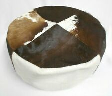 Real cowhide footstool round white & brown 50cm diameter 20cm high furniture