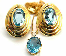 Exquisite14K Solid Yellow Gold, Topaz and Diamond Necklace and Earrings Set