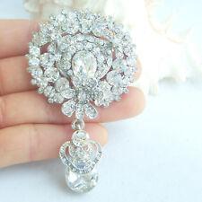 Brooch Pin Rhinestone Crystal Ee06314C1 Bouquet Bridesmaid Bridal Drop Flower
