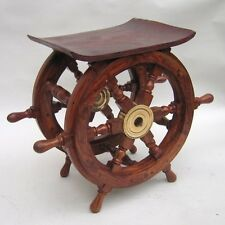 "SHIP WHEEL TABLE 18x15""~ SHIP WHEEL  ~ MARITIME~ NAUTICAL DECOR ~ WOODEN TABL"