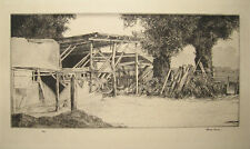 H. Gordon Warlow 1920s Etching of Farmyard Listed British Artist