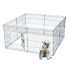 """24""""Tall Wire Fence Pet Dog Cat Folding Exercise Yard Panel Cages Play Pen Black"""