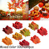 100/200 Pcs Autumn Maple Leaf Fall Fake Silk Leaves Craft Wedding Party Decor