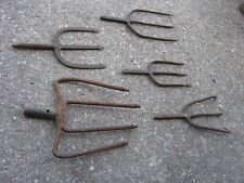 5 pc Vintage Assorted Size Fishing Gaff Gig Hand Forged Cabin lots fishing decor