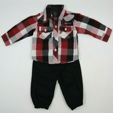 Enyce Baby Boy 2 Piece Multi Color Long Sleeve Shirt Pants Outfit Set Sz 0-3 Mo