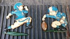 7Vv45 Pair Of Little Boy Football Wall Hangings, Homco #1254, 1976, Made In Usa