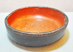 Old Vintage Collectible Hand Crafted Terracotta Pottery Round Bowl Plate