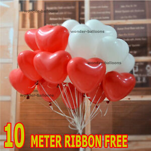 25 pk Red & White Heart Shape Balloons Valentines Special Decorations balloons