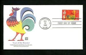 US FDC Fleetwood #2720 Chinese Lunar New Year of Rooster 1992 San Francisco CA