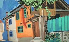 Vintage European expressionism oil painting landscape