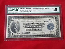 FR-740  1918 Series $1 One Dollar Dallas Federal Reserve Bank Note *PMG 25 VF*