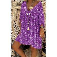 Plus Size Women's Loose Long Sleeve V Neck Casual Blouse Shirt Tunic Tops dress