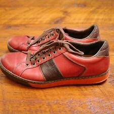 COLE HAAN G Series Mens Red Leather Casual Lace Up Sneaker Shoes 9.5M 43