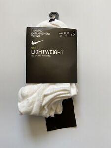 Nike Training Lightweight No Show Socks 3 Pack White Size 2-5 Euro 34-38 Unisex
