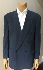 Men's Double Breasted Gray Pleated Pants 2 Piece Pinstripe Wool Suit Size 44L