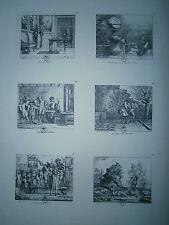 Planche gravure C. Gillot Illustration pour les fables de Houdart de la Motte