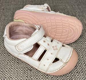 Stride Rite SRT SM Lynden Toddler Girl's 6 M White Leather Pink Soft Sole Sandal