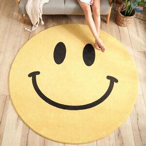 Smile Face Round Carpet Cartoon Soft Living Room Bedroom Rug Anit-Slip Floor Mat