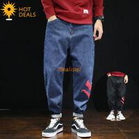 Men`s Retro Printing Loose Denim Pants Baggy Harem Taper Fit Stretch Jeans 28-42