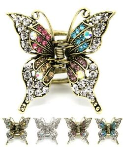 Metal hair claw jaw rhinestones crystal elegant butterfly clip hair accessories