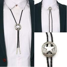 Fashion Western Cowboy Men Star Alloy Leather Shirt Bolo Tie Pendant Necklace