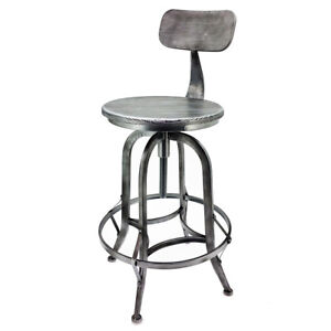 SET OF 2 RUSTIC RETRO ARTHUR BARSTOOL - STEEL ROTATING ADJUSTABLE BAR STOOL-P