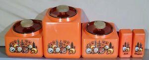 Vintage Rubbermaid Rare Complete Canister Set Of 5 70's Mushroom Orange EUC