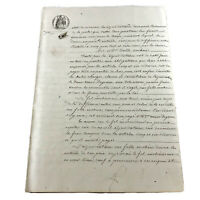 Authentic 1800's French Sealed Document Leaf Legal Work Paper Handwritten Old A