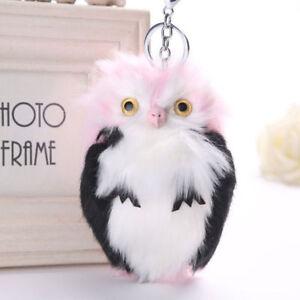 Soft Fluffy Owl Pendant Handbag Car Pendant Keychain Keyrings Key Charm Pompom