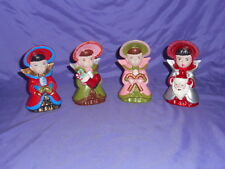 "4 VINTAGE CHRISTMAS 1966 FEMALE VICTORIAN CAROLERS CERAMIC FIGURES 6"" TALL"