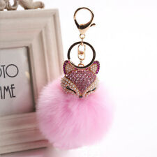 Charm Attractive Keyring Rhinestone Fox Fur Pearl Ball Key Chain Jewelry Fashion