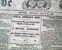 SECOND BATTLE OF DALTON Georgia & Deep Bottom Virginia 1864 Civil War Newspaper