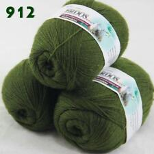 Lot of 3ballsX50g LACE Acrylic Wool Cashmere hand knitting Yarn Olive green 912