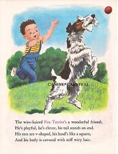 VINTAGE FOX TERRIER PLAYING WITH BOY With Poem DOG  Art Print ILLUSTRATION 1973