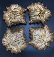 Cracker Barrel Bountiful Harvest Bronze Glass Maple Leaf Plates, Set Of 4