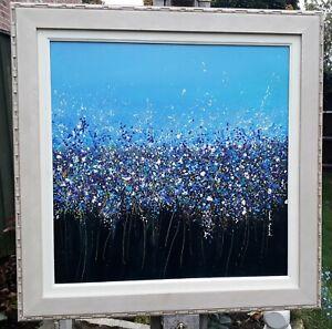 "Original impressionist spring flower painting  on canvas wooden framed 26"" x 26"""