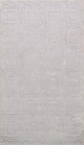 Modern Hand-tufted Gray/ Silver Trellis Indian Oriental Area Rug Wool/ Silk 5x8