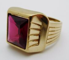 Vintage ROMANY Solid 10k Yellow Gold / Ruby Men's Ring Size 10