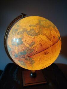 CIRCA 70S SCAN GLOBE DENMARK ILLUMINTING EARTH GLOBE TABLE LAMP WOODEN BASE.