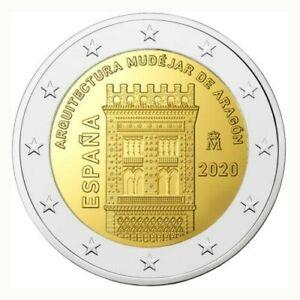 Pièce commemorative 2 euros Espagne 2020 UNC - Architecture d'Aragón