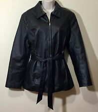 Women Belted Genuine Leather Coat Long Sleeve Jacket Size M Medium Black