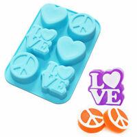 6-Cavity Love Heart Peace Sign Silicone Soap Mold Mini Cake Jello Mold Supplies