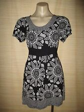 Jeanswest Black white stretch viscose peasant sleeve tie DRESS Size S