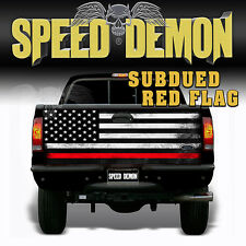 American Flag Subdued Red Stripe Firefighter TAILGATE WRAP Graphics Decal Truck
