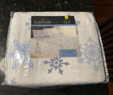 King Size New Cuddl Duds Snowflake Blue Flannel Sheet Set Nip 100% Cotton Kohls